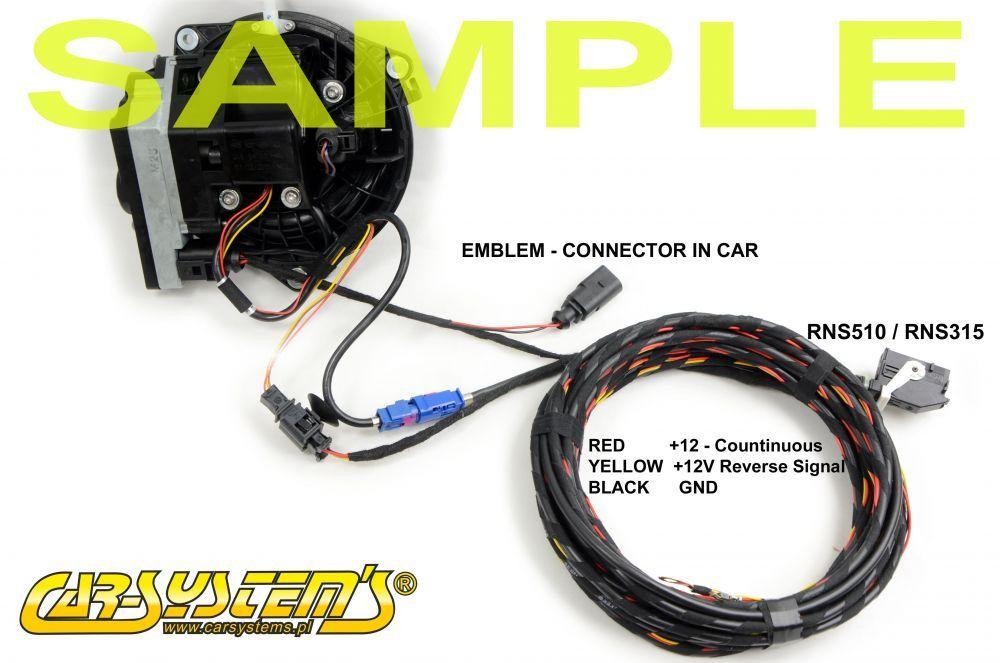 VW Golf 6 Emblem Low Camera harness - RVC - 5K0827469AQULM Wire Harnesses Being Emblem on