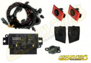 Audi A3 8V - APS+ Audi Parking System - Front UPGRADE KIT w. OPS  - Black Matt Sensor Holder - 5Q0919294B