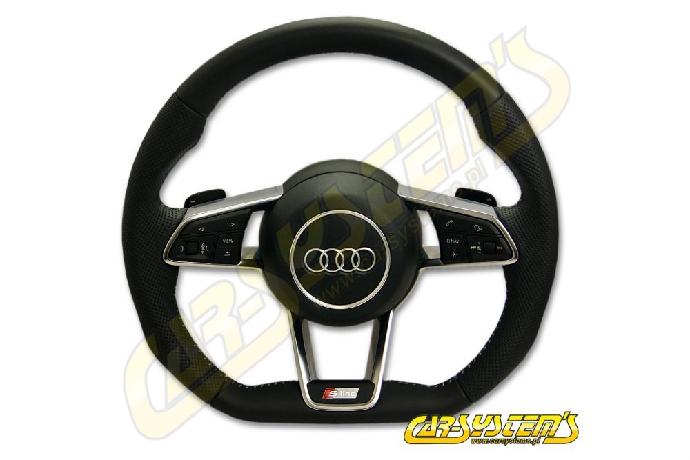 oem - audi tt - s-line - multifunction steering wheel with dsg paddle  shifts - 8s0419091g - flat bottom