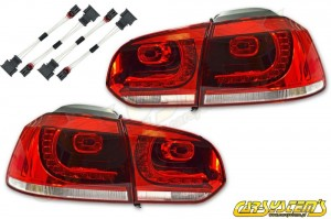 GOLF MK 6 GTI LED Taillights + Adapters - For UK Markets