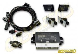 Audi A3 8V Facelift MY 2017 - APS+ Audi Parking System - Front UPGRADE KIT w. OPS  - Dark Chrom Matt RU6 Sensor Holder - 5QA919294A