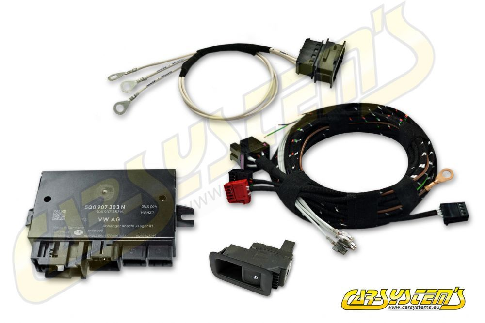 vw passat b8 / arteon 3h - rotative trailer hitch - wire harness + module  5q0907383n + push button